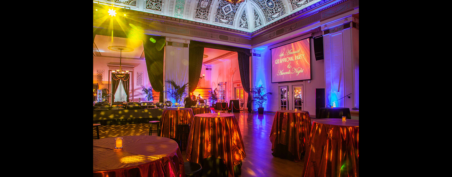 Colorful and elegant lighting in Grand Ballroom of Corporate Event Corporate Anniversary & Awards Event January 2016 Area Corporate Event Planner 021